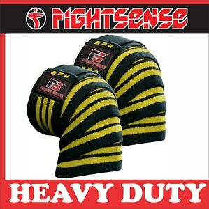 FS Knee Wraps Pair Gym Weight lifting Bandage Straps Powerlifting Pads Yellow