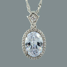 Cubic Zirconia 18K White Gold Plated Oval White Clear Topaz Pendant Free Chain