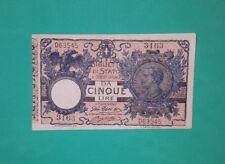 5 LIRE BIGLIETTO DI STATO VITTORIO EMANUELE III /DECR 17 GIUGNO  1915 /SPL+