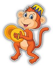 Circus Monkey Cartoon Car Bumper Sticker Decal 4'' x 5''