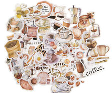 50 pieces coffee clipart Embossed paper Stickers for journal planner deco