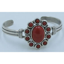 .925 Sterling Silver Natural Red Orange Coral Flower Cuff Bracelet