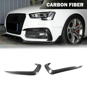 Fit For Audi A5 Sline S5 12-16 Fog Light Lamp Fins Canards Splitter Carbon Fiber