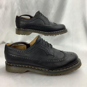rare DR MARTENS 5 Eye Black Leather Wingtip Brogue Oxford 11845 46 men 12