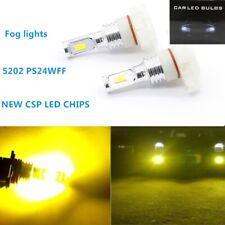 2x 5202 PS24WFF 110W 3000K YELLOW CSP LED Fog Lights Kit Bulbs Super Bright