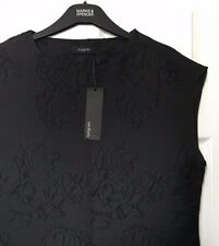 M&S Marks s18 Autograph Luxe Black Applique Embossed Sleeveless Top Blouse BNWT