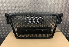 AUDI A4 B8 RS RS4 STYLE GLOSS BLACK HONEYCOMB RADIATOR BUMPER GRILLE 2008-2012