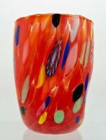 """ARLECCHINO"" MURANO GLASS STEMLESS WINE GLASS  / OLD FASHIONED GLASS - RED"