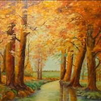 Vintage Original New England Fall Landscape Oil Painting Autumn Woods C.Sandberg