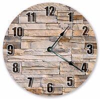 "10.5"" BROWN BRICKS WALL CLOCK - Large 10.5"" Wall Clock - Home Décor Clock - 3212"