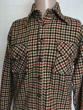 VTG 60s McGREGOR CLASSIC HOUNDSTOOTH WOOL FLANNEL SHIRT Khaki USA MADE S
