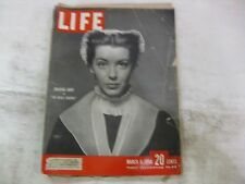 Vintage Life Magazine March 6th 1950 Marsha Hunt Cover Published By Time   mg395