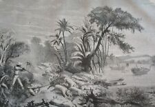 Hunting wild pigs in India.....wood engraving...1860s