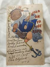 POST CARD 1908 Ohio City Cartoon Hold On To the Rope 1 cent Stamp VINTAGE