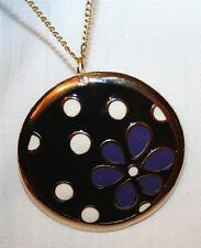Handsome Large Retro Black Violet & White Flower Power Goldtone Pendant Necklace