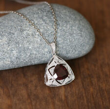Art Deco Inspired Diamond Garnet Gemstone Necklace Sterling Silver Pendant