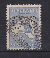 K360) Australia 1915 6d Deep Ultramarine Kangaroo, 2nd wmk perf. OS.