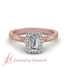 .75 Ctw. Emerald Cut Diamond Vintage Engraved Halo Engagement Ring For Women GIA