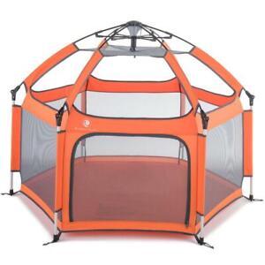 Pop N Go Foldable Portable Baby Toddler Child Playpen Canopy Tent Crib Orange