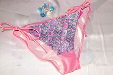 VICTORIAS SECRET SWIMSUIT BIKINI BOTTOM SIDE TIES PINK SEQUIN SMALL  NWT
