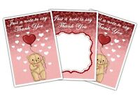 Valentine's Day Thank You Cards - Teddy Bear - Pack of 10 by Party Decor