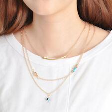 Hot Hamsa Fatima Hand Evil Eye Pendant 3 Layers Necklace Women Chain Jewelry