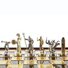 Manopoulos Discus Thrower Chess Set - Brass&Nickel - Wooden case Brown Board