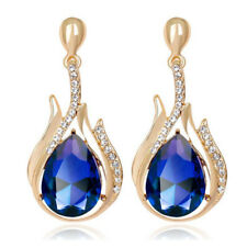 Gold Royal Dark Blue Queen Bridal Luxury Wave Women Drop Stud Earrings E1316