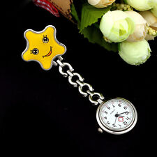 Nurse Watch Clip-on Fob Brooch Pendant Hanging watch Star Pocket Watch Yellow