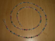 Multicolored Crackle Bead Mix & White Opal Swarovski Crystal Eyeglass Chain