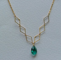 SEA GREEN FACETED GLASS CRYSTAL GOLD PL diamond shaped DETAIL NECKLACE DM