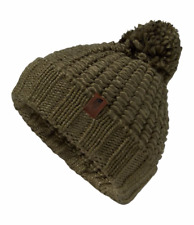 New! The North Face Womens COZY CHUNKY BEANIE Burnt Olive Green Pom Cap NWT