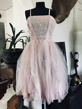 Vintage 50s Pink Taffeta and Silk Embroidered Dress with Draped Hem Rose Floral