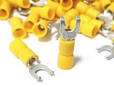 100Pk Flanged Fork Terminal, 12-10 Yellow Vinyl Insulated #10 Lipped