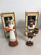 Thanksgiving Pilgrim Couple Resin Candle Holders -in boxes