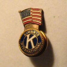Kiwanis International Lapel Pin - Vintage American Flag Bates & Klinke Badge