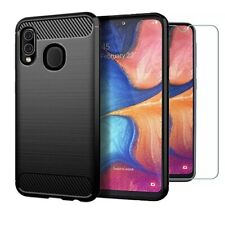 For Samsung Galaxy A20e Case Carbon Fibre Cover & Glass Screen Protector