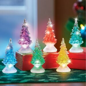 Set of 6 Color Changing Christmas Tree Decorative Shelf Table Figurines