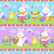 Easter Fabric - Spring Has Sprung Rabbit Chick Stripe - Studio E YARD