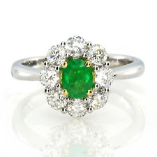 Real 1.38ct Natural Green Emerald Engagement Ring Oval Cut 18K Gold G VS2