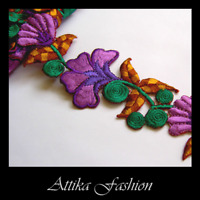 Purple Lilac FLOWER Leaf Stem APPLIQUE MOTIF Cotton Silk EMBROIDERED LACE TRIM