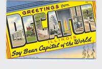 BIG LARGE LETTER VINTAGE POSTCARD GREETINGS FROM ILLINOIS DECATUR SOY BEAN CAPIT
