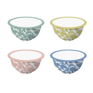 600ML Handmade Multi-Coloured Set of 4 Enamel Bowls Featuring a Marble Effect UK