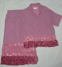 Citron Of Santa Monica L Lg Mauve Skirt Set Outfit Tiered Velvet Lagenlook Maxi