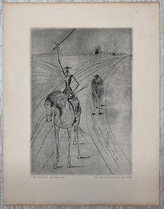 RARE Original CANDIDO PORTINARI 'Don Quixote' ETCHING engraved by EDITH BEHRING