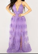 BRAND NEW LAVENDER LACE SEMI BACKLESS MAXI DRESS WEDDING BRIDAL CLUB PARTY
