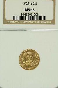 1928 $2.50 Gold Indian Head Quarter Eagle  : NGC MS63