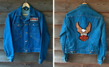 Vintage Wrangler Denim Biker Jacket Harley Davidson Motorcycle Patch Superglide