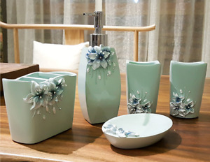 5pcs Resin Bathroom Accessories Sets Creative Toothbrush Cup Holder Light Green