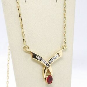 Necklace Yellow Gold 18K, Central Ruby and Diamonds, Cut Princess, Chain